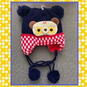 Other - Baby Boys Teddy Bear Blue Red White Beanie Hat